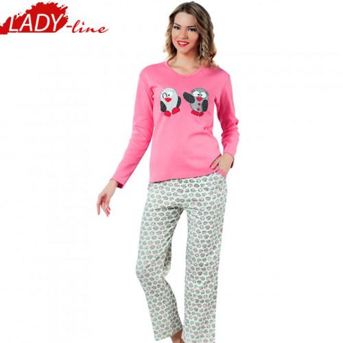 Pijamale Dama Maneca Lunga, Model Happy Penguins, Producator Fawn, Material Bumbac 100% Interlock, Culoare Roz, Pijamale Dama Maneca si Pantalon Lung