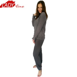 Poze Pijamale Dama Maneca Lunga, Model Inocent & Beauty, Brand Italian Fashion Design, Material Bumbac 100% Interlock, Culoare Gri, Pijamale Dama Calitate 100%