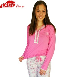 Poze Pijamale Dama Maneca Lunga si Pantalon Lung, Material Bumbac 100%, Model 'Sweet Dreams', Brand Senso, Culoare Roz, Pijamale Import Italia