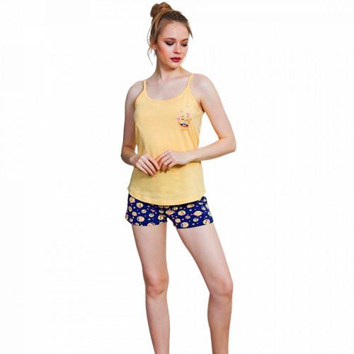 Pijamale Dama Vienetta, 'I Feel So ...' Culoare Galben