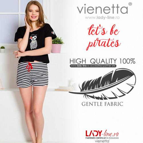 Pijamale Dama Vienetta, 'Let's be Pirates' Culoare Negru