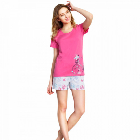 Pijamale Vienetta din Bumbac 100%, Model 'Spring Is Here' Pink