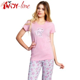 Poze Pijamale Vienetta Secret, Bumbac 100%, 'Belive In Yourself' Coral
