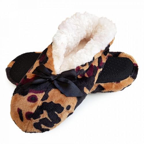 Papuci de Casa Tip Saboti, Animal Print Jaguar, Papuci Interior Imblaniti