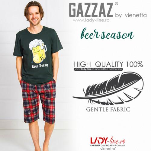 Pijama Barbati Gazzaz by Vienetta, 'Beer Season' Green