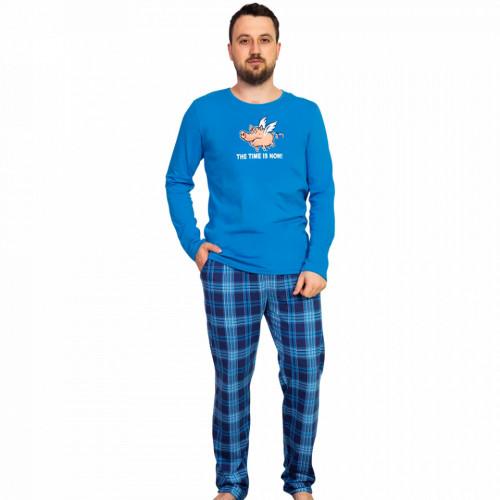 Pijama Barbati Gazzaz by Vienetta, 'The Time is Now' Blue