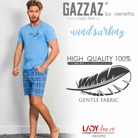 Pijama Barbati Gazzaz by Vienetta, 'Wind Surfing' Blue