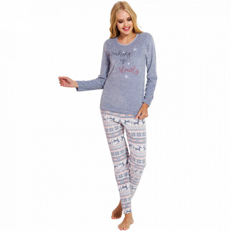 Pijama Dama Soft Velur, Vienetta, 'Waking Up Slowly' Gray