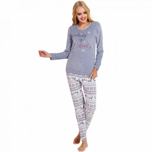 Pijama Dama Soft Velur, Vienetta, 'Waking Up Slowly' Gray