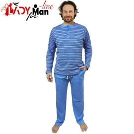 Poze Pijamale Barbati Bumbac Natural, Contro Senso, 'Basic Lines Blue'