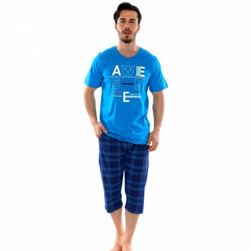 Pijamale Barbati Marimi Mari Gazzaz by Vienetta Model 'Awesome City' Blue