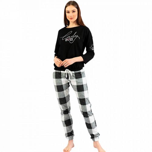Pijamale Confortabile Dama din Bumbac Vienetta Model 'Lady Boss'