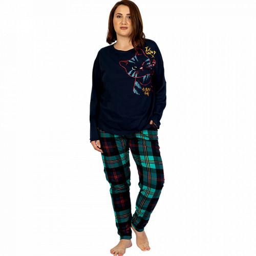 Pijamale Confortabile Dama Marimi Mari Vienetta Model 'Cattitude' Blue