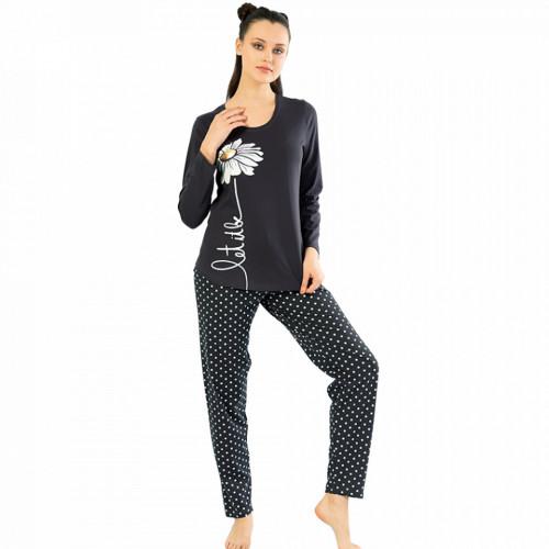 Pijamale Confortabile din Bumbac Vienetta Model 'Let It Be' Culoare Gri Indigo