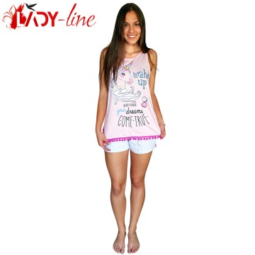 Poze Pijamale Dama de Vara, Bumbac 100%, 'Unicorn - Make Your Dreams Comtrue'