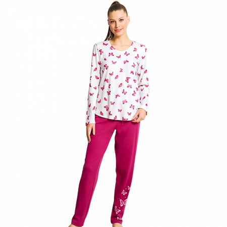 Pijamale Dama din Bumbac Interloc Vienetta Model 'Butterfly Landscape'