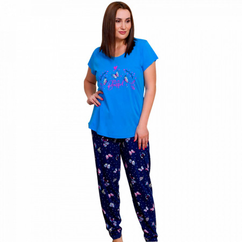 Pijamale Dama Marimi Mari din Bumbac, Vienetta Model 'You Are Beautiful' Blue
