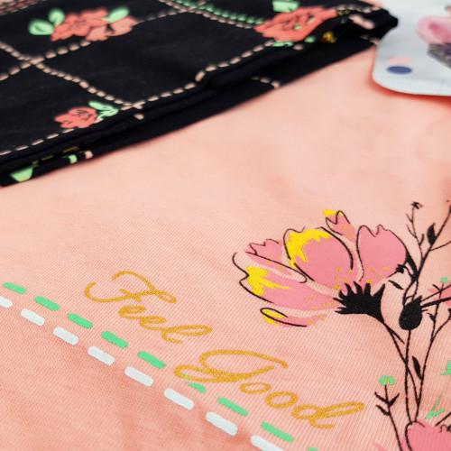 Pijamale Dama Marimi Mari Vienetta Bumbac 100% 'Feel Good' Pink