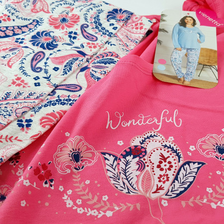 Pijamale Dama Marimi Mari Vienetta, Model Wonderful Symphony Pink