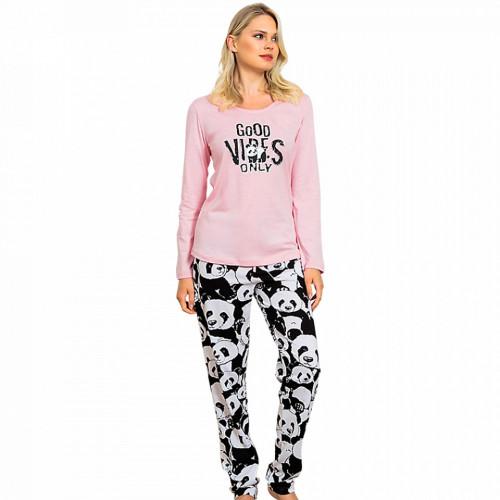 Pijamale Dama Vienetta Bumbac 100% 'Good Vibes Only'