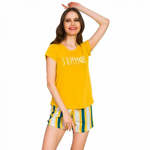 Pijamale Dama Vienetta Bumbac 100%, 'Summer' Yellow