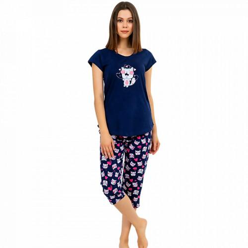 Pijamale Dama Vienetta din Bumbac cu Pantalon 3/4 Model 'Be Happy' Blue