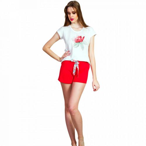 Pijamale Dama Vienetta, 'Touching the Flowers' Culoare Alb/Rosu