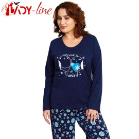 Poze Pijamale Vienetta Secret, Bumbac 100%, 'Sweet Love' Blue