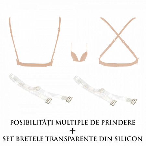 Sutien Decolteu Adanc + Bretele Silicon, Brand Secret KTL, Bej