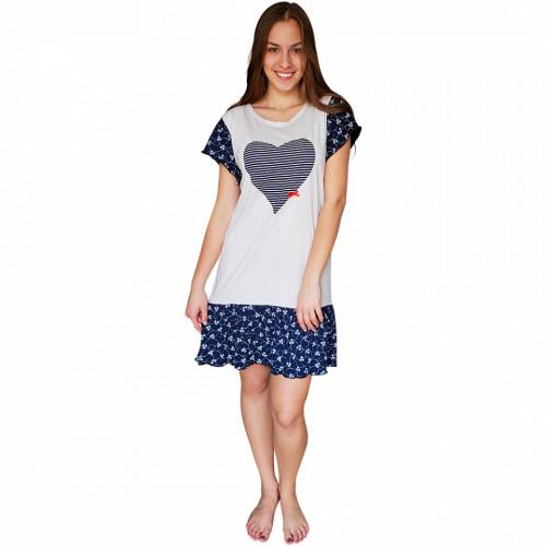 Camasa de Noapte Dama, Character, Bumbac 100%, Model Nomad Love Blue