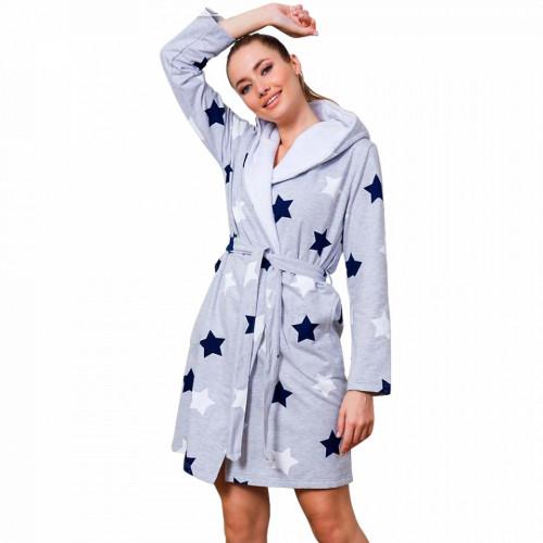 Halat Dama Vatuit la Interior cu Gluga Extra Soft Vienetta 'Stars all Around Us' Blue