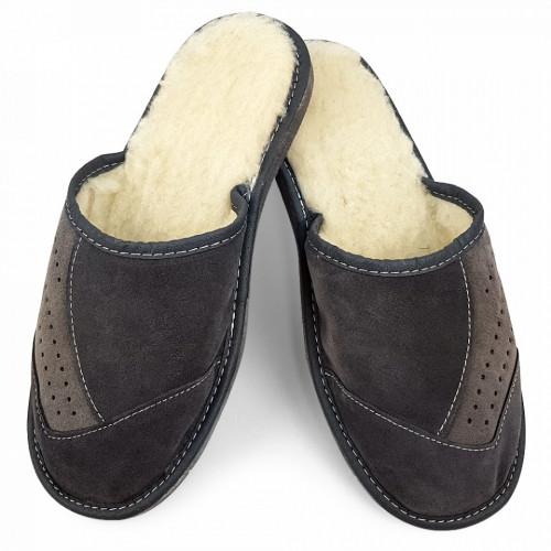 Papuci de Casa din Piele Imblaniti cu Lana de Oaie, Culoare Gri Model 'Velvet Touch'