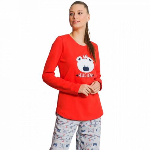 Pijama Dama din Bumbac Vatuita la Interior Vienetta Model 'Hello Bear' Red