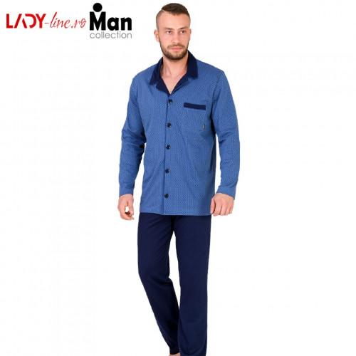 Pijamale cu Nasturi Barbati, Bumbac 100%, 'Stylish Blue', M-Max