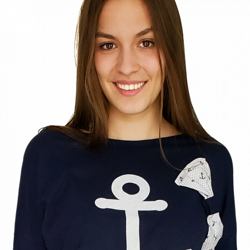 Pijamale Dama Bumbac 100%, Brand Charachter, 'Blue Marinero'