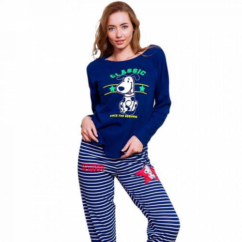 Pijamale Dama din Bumbac Vienetta Model 'Classic Happiness' Albastru