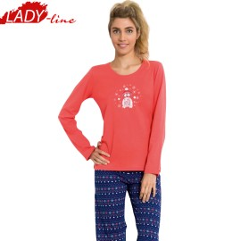 Poze Pijamale Dama Maneca Lunga, Material Bumbac 100%, Culoare Rosu/Albastru, Producator Vienetta Secret, Model My Sweet Winter Friend, Pijamale Dama Vienetta