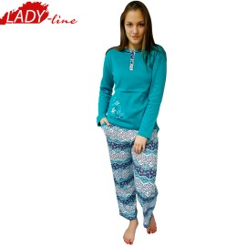 Poze Pijamale Dama Maneca Lunga, Model Happy Spring, Producator Fawn, Material Bumbac 100% Interlock, Culoare Turcoaz, Pijamale Dama Maneca si Pantalon Lung