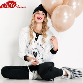 Poze Pijamale Dama Maneca Lunga, Model So Happy, Brand Italian Fashion Design, Material Bumbac 100% Interlock, Culoare Alb/Negru, Pijamale Dama Calitate 100%