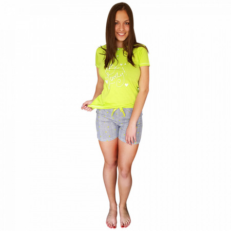 Pijamale Dama Maneca si Pantalon Scurt, Senso, Model Be Lovely Green