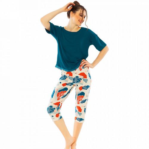 Pijamale Dama Manesca Scurta Pantalon 3/4 Vienetta Classic Model 'Harmony in Nature'