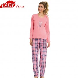 Poze Pijamale Dama Toamna, Model All You Need Is Sleep, Producator Vienetta, Bumbac 100%, Culoare Roz Coral