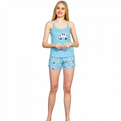 Pijamale Dama Vienetta, Bumbac 100%, 'Listen Your Hear' Blue