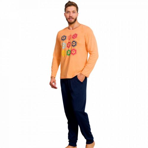 Pijamale din Bumbac Barbati Gazzaz by Vienetta 'Social Media - In Top' Orange