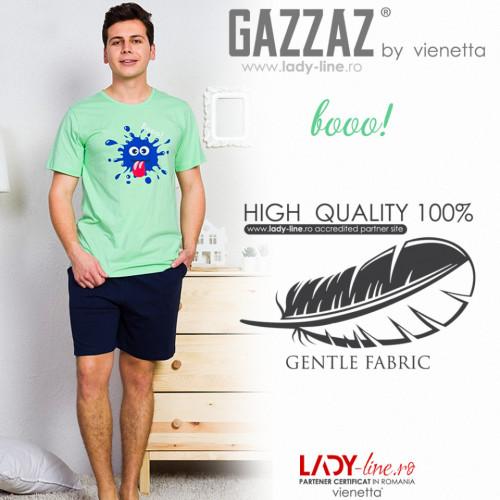 Pijamle Barbati Gazzaz by Vienetta, 'Booo!' Green, Bumbac 100%