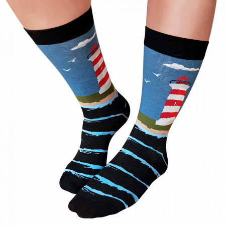 Sosete Clasice Colorate Unisex Cosas Boutique Socks Model 'Lighthouse By The Sea'