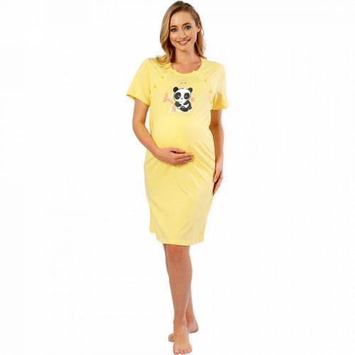 Camasa pentru Gravide si Alaptat din Bumbac Vienetta 'My Love' Yellow