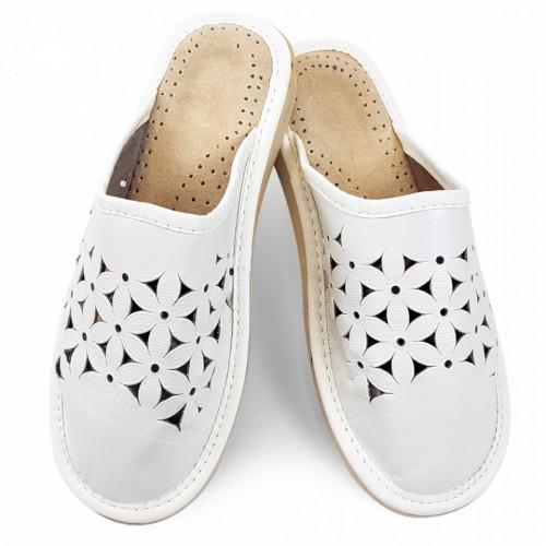 Papuci de Casa Vara din Piele Culoare Alb Model 'White Flowers'