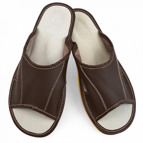 Papuci de Casa Vara din Piele Culoare Negru Model 'Summer Earth'