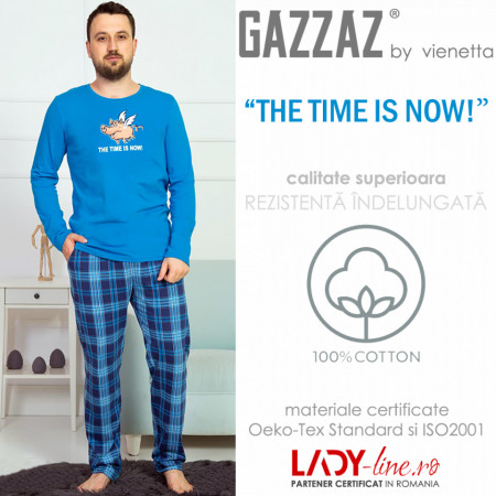 Pijama Barbati Gazzaz by Vienetta, 'The Time is Now' Blue